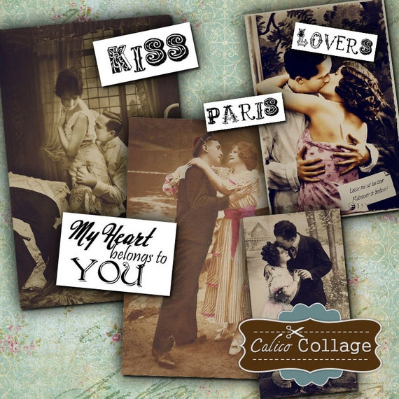 Lovers Digital Collage Sheet - Valentines Day - Digital Collage - Decoupage Paper - Craft Paper - Ephemera Vintage Pictures Romance Kissing