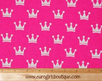 1 yard Knit Sleeping Beauty Pink Crowns