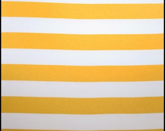 "Knit yellow white 1"" stripes 1 yard new golden yellow"