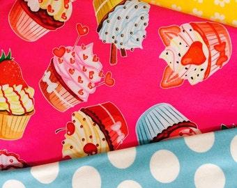 Knit new cupcakes dots and diasies 1/2 yard bundle