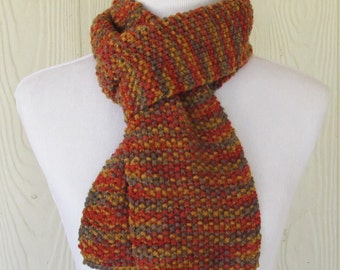 Seed Stitch Hand Knit Scarf, Chunky Texture, Rust, Yellow, Brown, Eclectasie