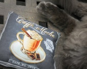 Cat Pillow - Catnip Cat Pillow - Caffe du Jour Cotton Pillow - Coffe Mocha