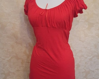 Red peasant blouse -size m/l