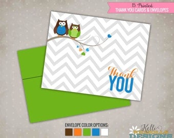 Owl Chevron Baby Boy Shower Thank You Cards, Thank You Notes #15