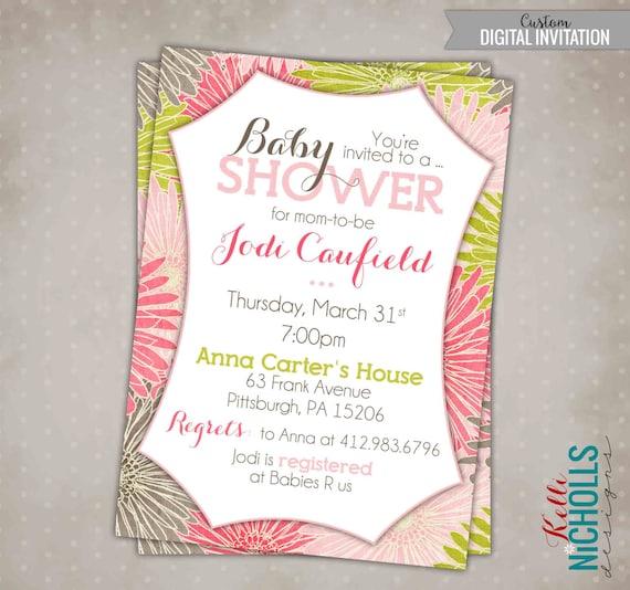 Baby Shower Invitation Girl - Gerber Daisy #S116