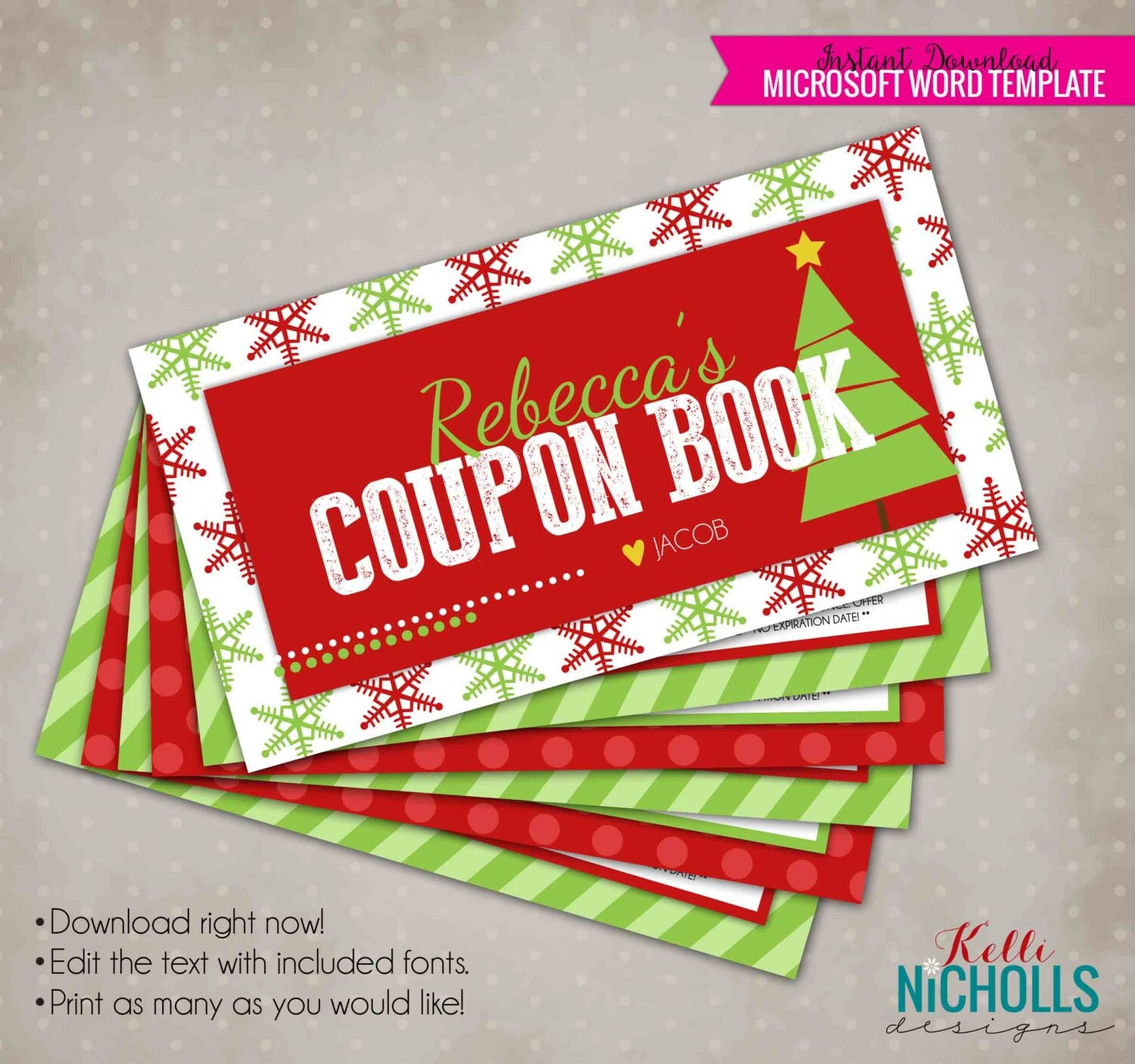 Christmas gift coupon book personalized husband or wife Christmas presents for wife