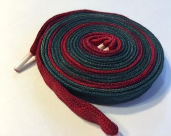 Hand Dyed Shoelaces (54 inch length) Holly Berry
