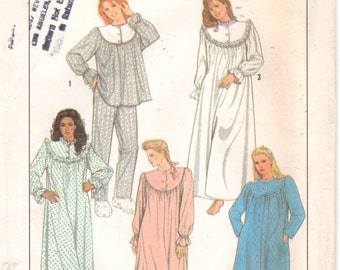 Simplicity 8914 1980s Misses PAJAMAS NIGHTgown RoBE Pattern Womens Vintage Sewing Pattern Size Petite Bust 30 31 Or  Small or Medium UNCUT