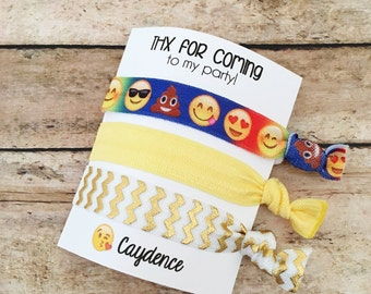 Emoji Party Favors, Emoji Birthday Favor, Emoji Hair Tie, Hair Tie Favors, Emoji Party, Emoji Favors, Hair Tie Bracelet, Girl Party Favors