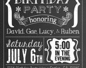 Chalkboard Birthday Invite : DIY Printable Birthday Celebration Invitation 5x7