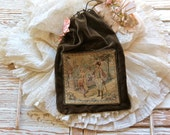 Antique French Lovely Velvet Sewing Bag......