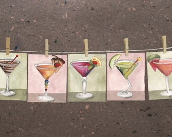 """Set of (5) small original Martini paintings, bar decor art, by Mary Beth Medley, approx 4.25"""" x 6.25"""" each"""