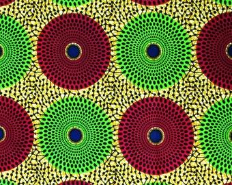 African Fabric 1/2 Yard Cotton Fuschia Pink Green Beige Circles Dots BTHY