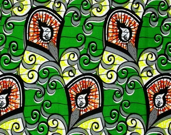 African Fabric 1/2 Yard Cotton Wax Print ORANGE GREEN YELLOW Abstract Version 2