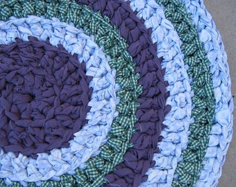 Purple rag rug, crocheted circle rag rug, eco friendly, washable, bath mat, durable, plum and green, green gingham, kitchen rug, home decor