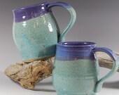 Pottery Mug Handmade Purple Grape and Turquoise Blue Glaze Serving Coffee Tea