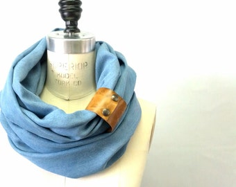Tencel light denim wash circular infinity scarf