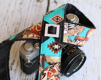 Southwest Camera Strap. dSLR Camera Strap. SLR Camera Strap. Camera Accessories. Camera Strap. Padded Camera Strap. Gift for Her