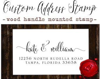 RETURN ADDRESS STAMP Custom calligraphy personalized  address wood handle mounted rubber stamp - style 1280YY