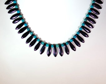 Gemstone and Czech Crystal Necklace - Genuine Turquoise with Glass Daggers - 18 inch Necklace