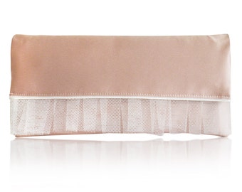 Blush pink and ivory Romilly clutch purse