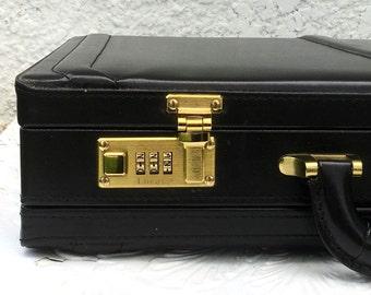 "Luxury Midnight Black Vintage Executive Leather Briefcase, ""Lucas"" Brand, Combo Locks, Matching Key Fob, Brass Hardware"