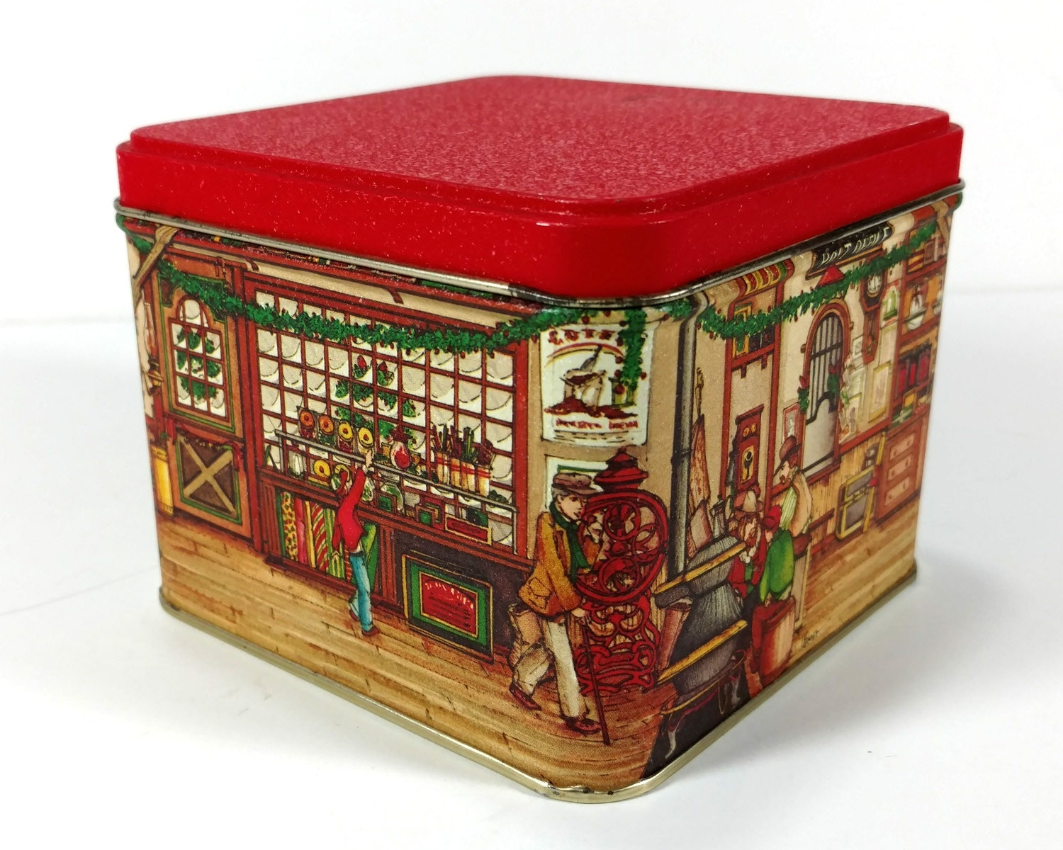 Vintage Christmas Tin Old Fashioned General Store And Post