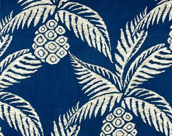"Tropical Curtains, Palm Leaf Window Curtains, Beach House Decor, Pineapple Drapes, Navy Blue Custom Rod Pocket Panels, One Pair 50""W"