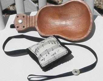 Ukulele Sewing Set Kamani Wood Pin Dish with Detachable Musical Needle Case Pin Cushion with a Scissor Tether Hawaiian Music OOAK