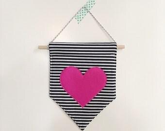 Puffy Heart Gelt Banner *PINK*, felt banner, wall banner, pennant, wall decor, wall hanging, nursery decor, pink heart decor