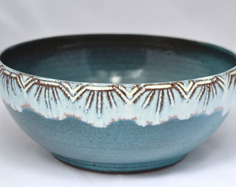 Large Serving Bowl in Turquoise Blue Green and White - Ceramic Stoneware Pottery