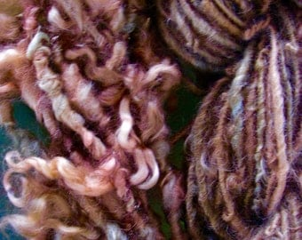 Handspun Tailspun Wool Curly Locks and Smooth Yarn Duo in Rusty Orange and Green by KnoxFarmFiber for Embellishment Knit Weave
