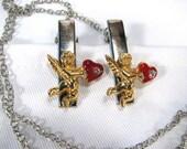 Napkin Clip Dinner Serviette Holder Love Cupid Red Heart Linen Nappy Bib Clip Silver Chain Senior Care Dine with Dignity