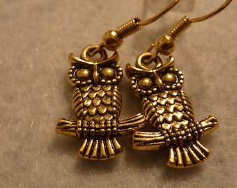 Gold tone Owl Earrings