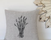 Pillow Cover Cushion Cover - Lavender Flowers  - 16 x 16 inches - Choose your fabric and ink color