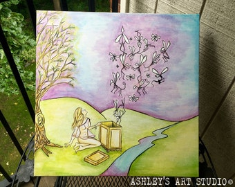 "Pandora's Box Original Acrylic Painting  20"" x 20"" - Hand Painted"