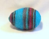 Needle Felted Easter Egg - Turquoise Blue Egg with Stripesin Brown and Magenta