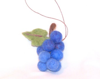 Christmas Ornament - Miniature Ornament - Bunch of Grapes - Blue Concord Grapes - Needle Felted - Fruit Ornament - Christmas Gift