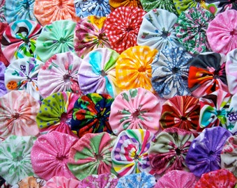 Fabric Flowers Applique  1 1/2 Inch 120  Quilting Bobby Pin Barrette Hair Clip Trim