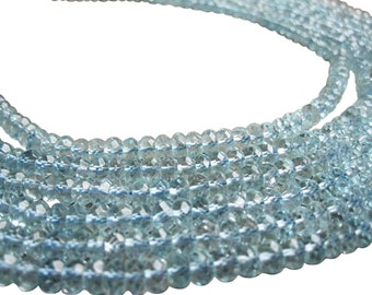 AAA Swiss Blue Topaz Beads Faceted Rondelles, 4mm Rondelles, November Birthstone, SKU 2230A