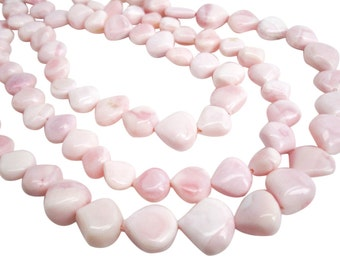 Pink Opal Briolettes, Pink Opal Beads, Pink Peruvian Opal, 13mm, Smooth Heart Briolettes, SKU 3979A