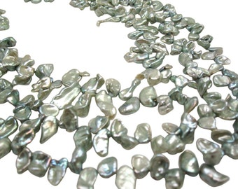 Green Keishi Pearls, Freshwater Cornflake, Keshi Pearls, SKU 4692
