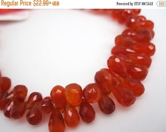 SALE Carnelian Beads, Carnelian Briolettes, Carnelian Teardrops, 4mm x 7mm, Faceted Carnelian Beads, Orange Gemstone, Loveofjewelry, SKU 355