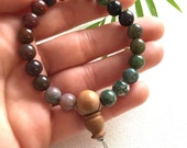 Fancy jasper wrist mala * relieve fear, frustration, guilt * jasper bracelet mala