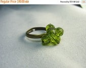 Green crystal ring ... antique brass adjustable cluster ring of green crystal charms ... envious