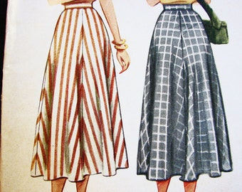 Vintage 1940s Flared Skirt Pattern Misses size 18 Waist 30 McCalls Pattern Mid Calf 1940s Skirt Sewing Pattern
