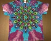 Tie Dye Shirt, Tie Dyed Shirt, Tiedye Shirt, Rainbow Tie Dye, Lotus Tie Dye, Flower Tie Dye, Size Large, Size XL, Mandala Tie Dye