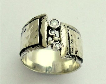 sterling silver band,  zircon gemstones band, unisex ring, wide silver band, oxidized silver ring, multi stone ring - Hugs R1675