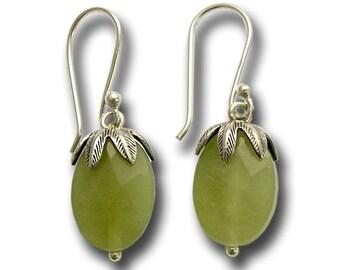 Woodland earrings, green stone earrings, stone earrings, green jade earrings, dangle earrings, botanical earrings - All Night Long E2068-2