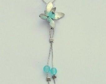 Long Silver Pendant, flower pendant, blue quartz necklace, silver chain, floral necklace, flower necklace, blue quartz - Hanging vine N8981